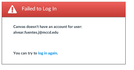 Error: Failed to log in - Canvas doesn't have an account for user