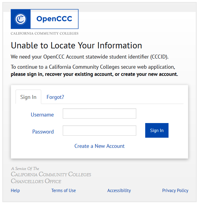 CCID Error: Unable to locate your information