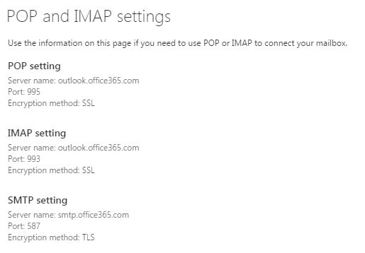 Image of POP, IMAP, SMTP and POP settings